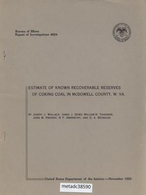Primary view of object titled 'Estimate of Known Recoverable Reserves of Coking Coal in McDowell County, West Virginia'.