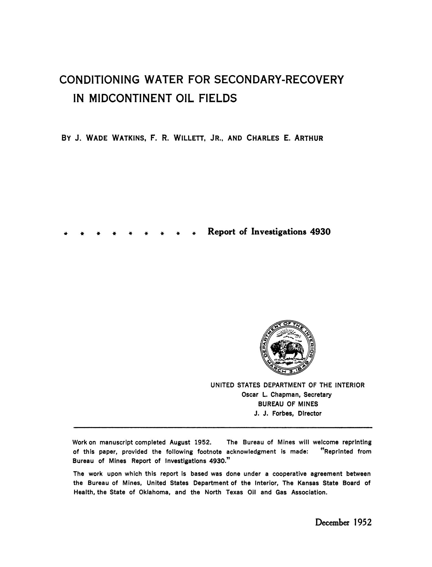 Conditioning Water for Secondary-Recovery in Midcontinent Oil Fields                                                                                                      Title Page
