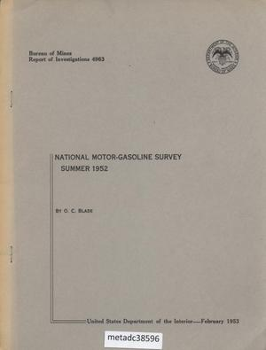 National Motor-Gasoline Survey: Summer 1952
