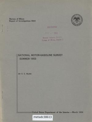 Primary view of object titled 'National Motor-Gasoline Survey: Summer 1953'.