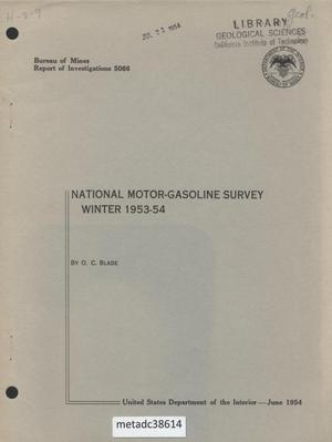 Primary view of National Motor-Gasoline Survey: Winter 1953-54