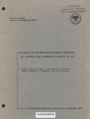 Primary view of object titled 'Estimate of Known Recoverable Reserves of Coking Coal in Mercer County, West Virginia'.