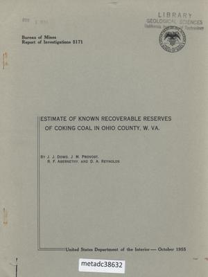 Primary view of object titled 'Estimate of Known Recoverable Reserves of Coking Coal in Ohio County, West Virginia'.