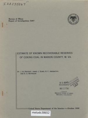 Primary view of object titled 'Estimate of Known Recoverable Reserves of Coking Coal in Marion County, West Virginia'.