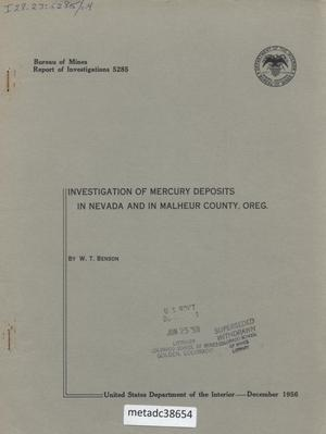 Primary view of object titled 'Investigation of Mercury Deposits in Nevada and in Malheur County, Oregon'.