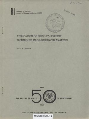 Primary view of object titled 'Application of Buckley-Leverett Techniques in Oil-Reservoir Analysis'.