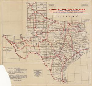 Primary view of object titled 'National Highways preliminary map of the state of Texas: showing sixty-two hundred miles of national highways proposed by the National Highways Association, Washington, D.C.'.