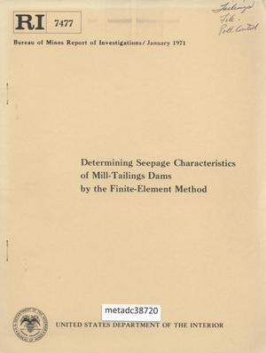 Primary view of object titled 'Determining Seepage Characteristics of Mill-Tailings Dams by the Finite-Element Method'.