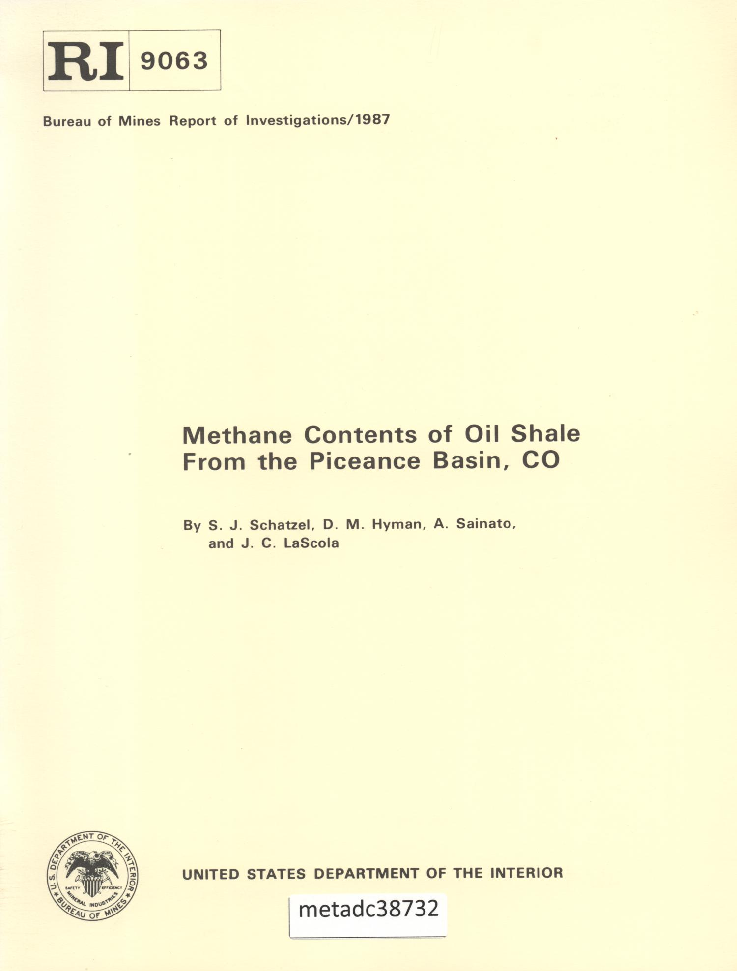 Methane Contents of Oil Shale from the Piceance Basin, Colorado                                                                                                      Front Cover