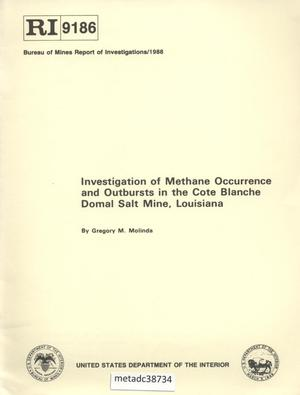 Primary view of object titled 'Investigation of Methane Occurrence and Outbursts in the Cote Blanche Domal Salt Mine, Louisiana'.
