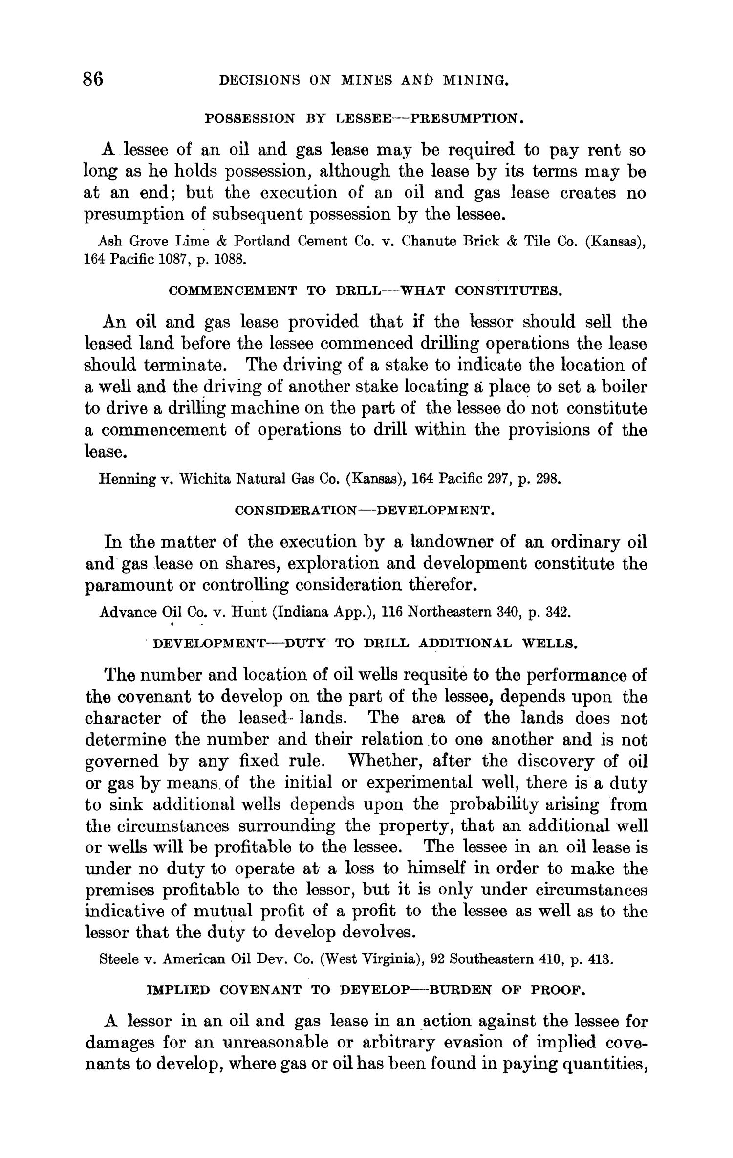 Abstracts of Current Decisions on Mines and Mining: May to August, 1917                                                                                                      86