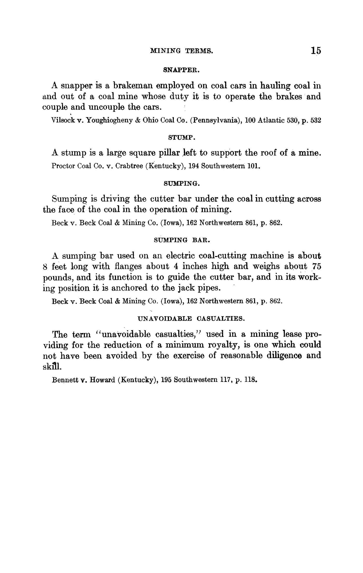 Abstracts of Current Decisions on Mines and Mining: May to August, 1917                                                                                                      15