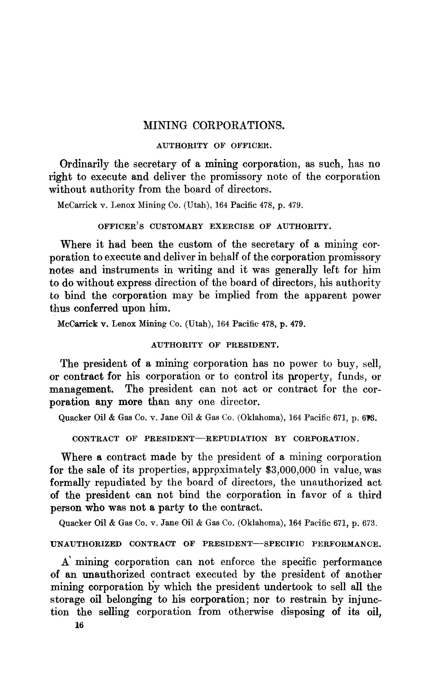Abstracts of Current Decisions on Mines and Mining: May to August, 1917                                                                                                      16