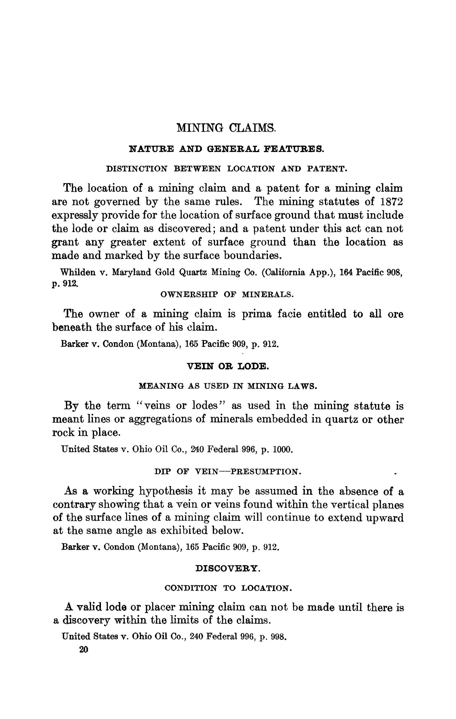 Abstracts of Current Decisions on Mines and Mining: May to August, 1917                                                                                                      20
