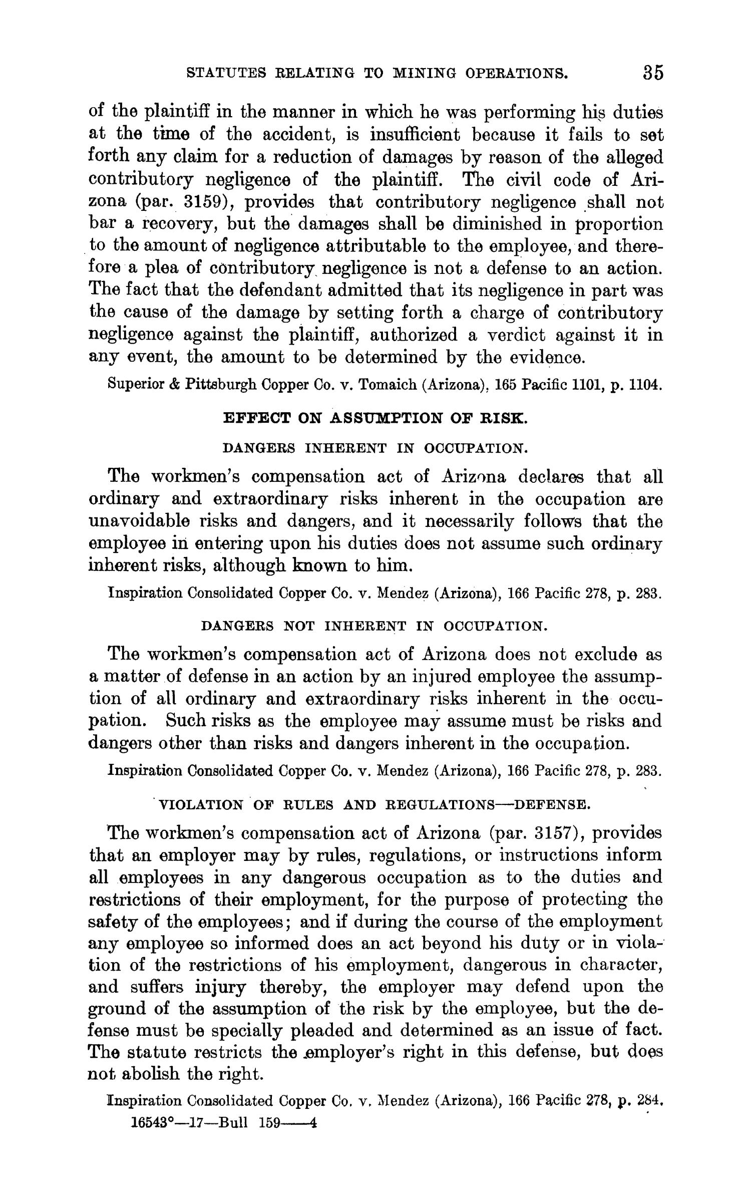 Abstracts of Current Decisions on Mines and Mining: May to August, 1917                                                                                                      35