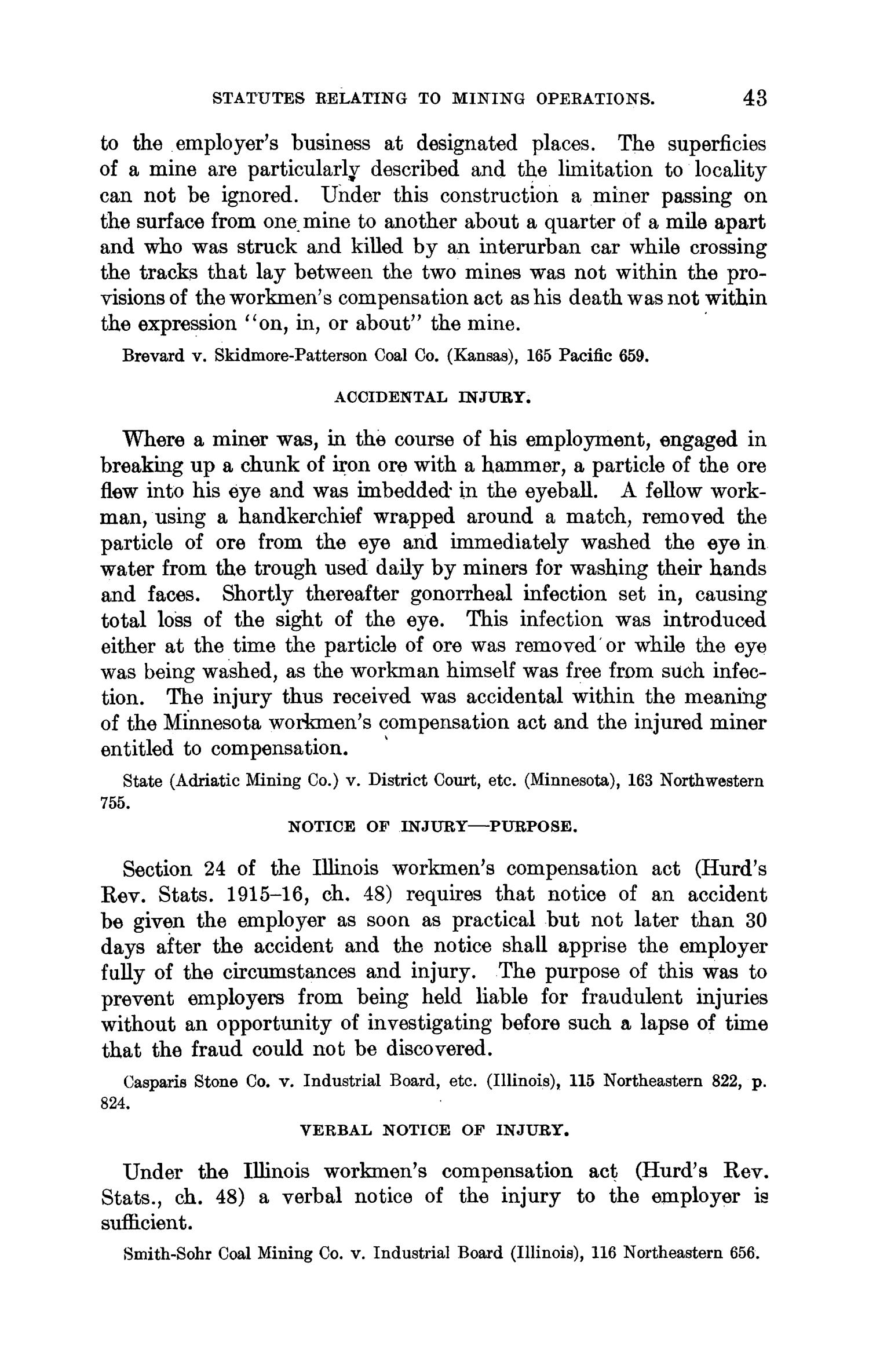 Abstracts of Current Decisions on Mines and Mining: May to August, 1917                                                                                                      43