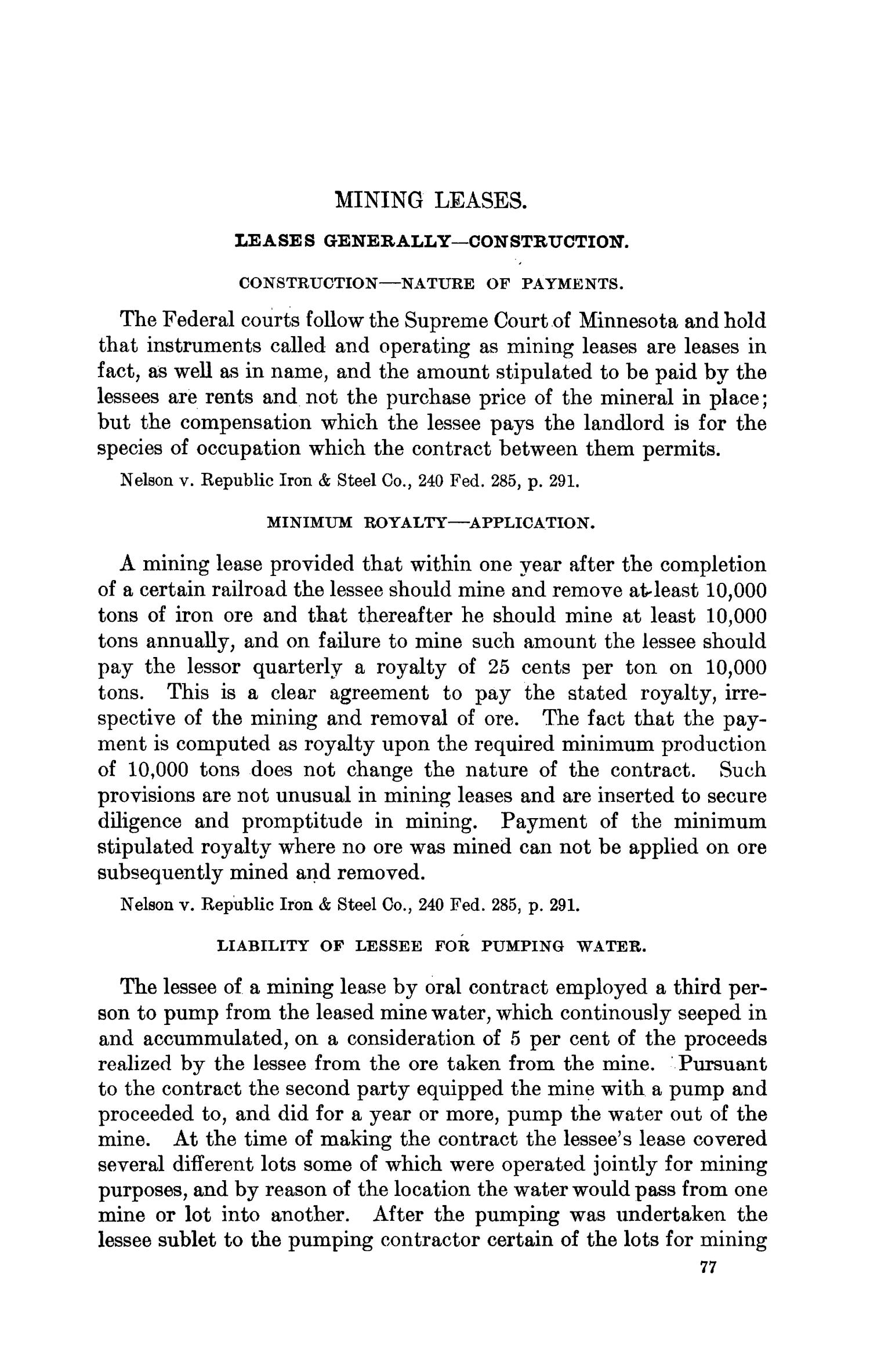 Abstracts of Current Decisions on Mines and Mining: May to August, 1917                                                                                                      77
