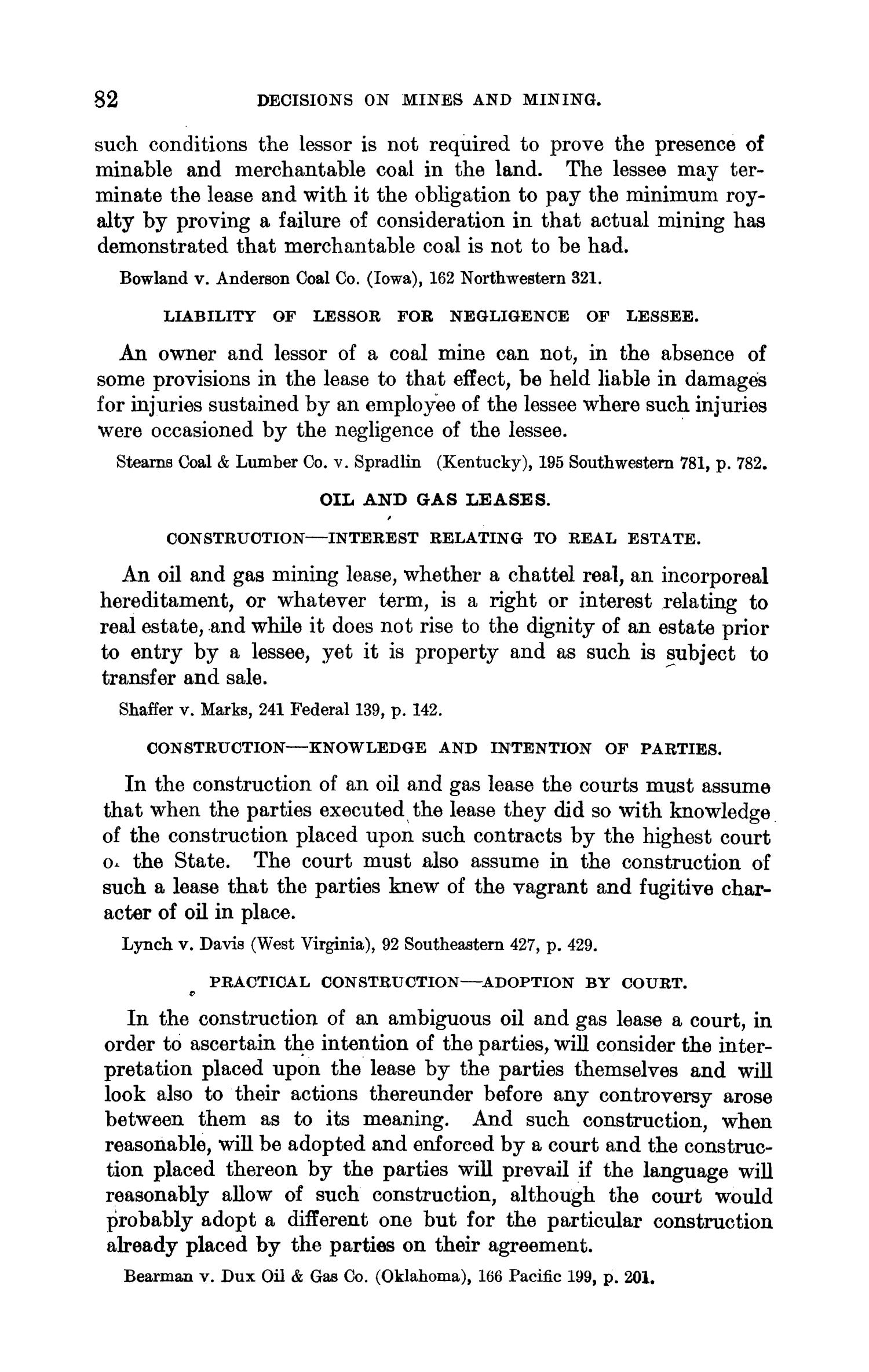 Abstracts of Current Decisions on Mines and Mining: May to August, 1917                                                                                                      82