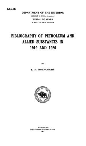Primary view of object titled 'Bibliography of Petroleum and Allied Substances in 1919 and 1920'.
