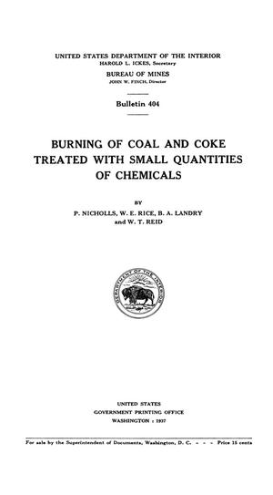 Primary view of object titled 'Burning of Coal and Coke Treated with Small Quantities of Chemicals'.