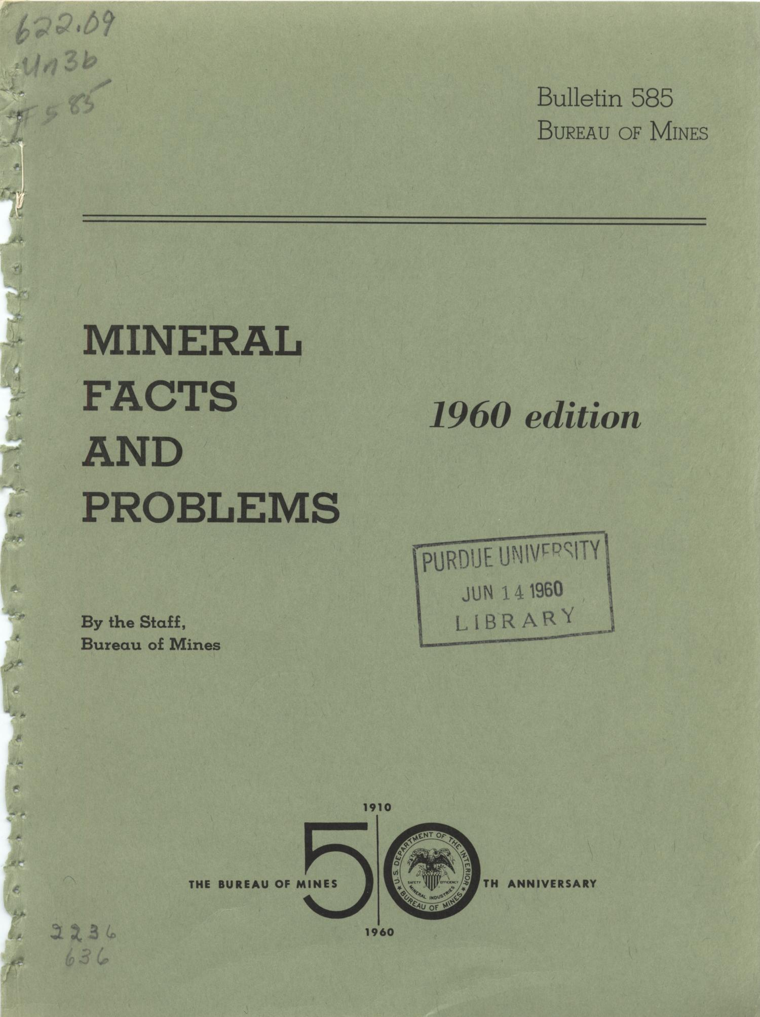 Mineral Facts and Problems: 1960 Edition                                                                                                      Front Cover