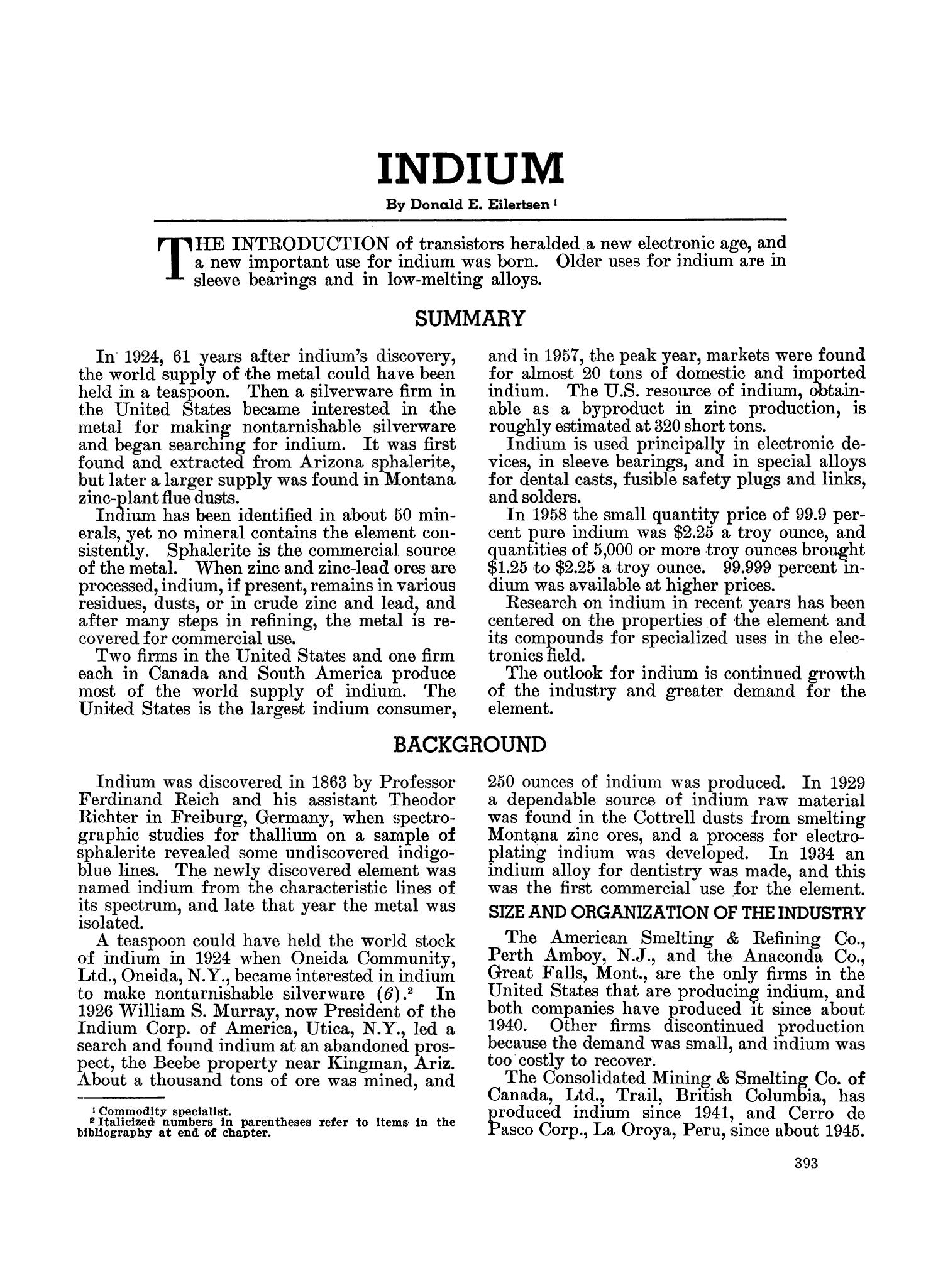 Mineral Facts and Problems: 1960 Edition                                                                                                      393