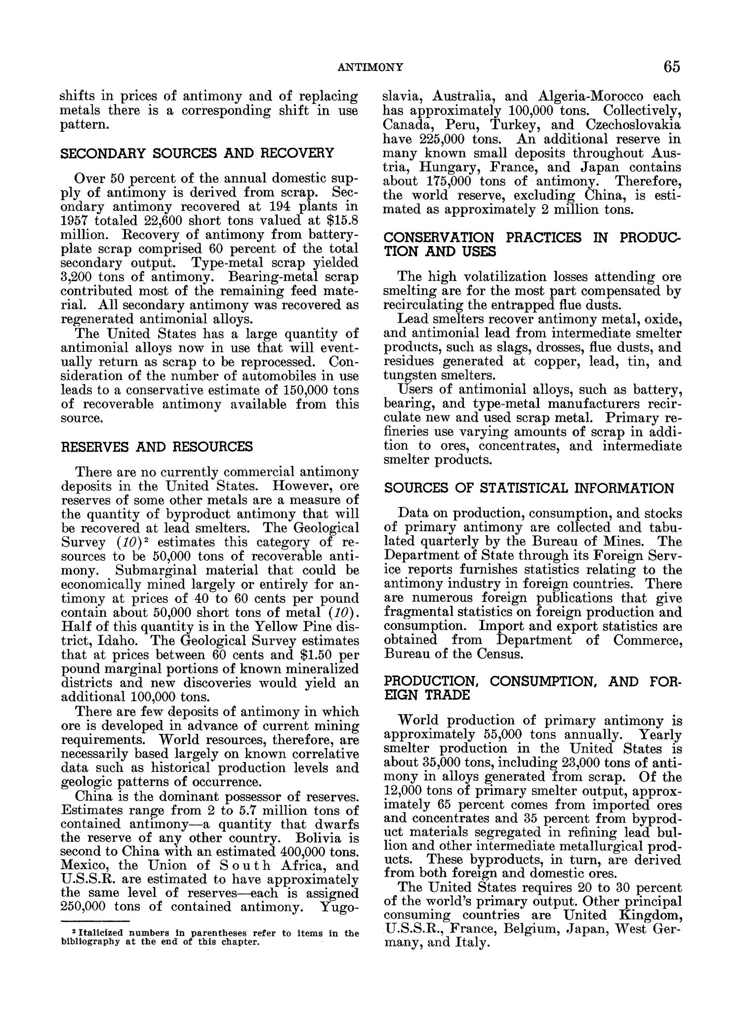 Mineral Facts and Problems: 1960 Edition                                                                                                      65