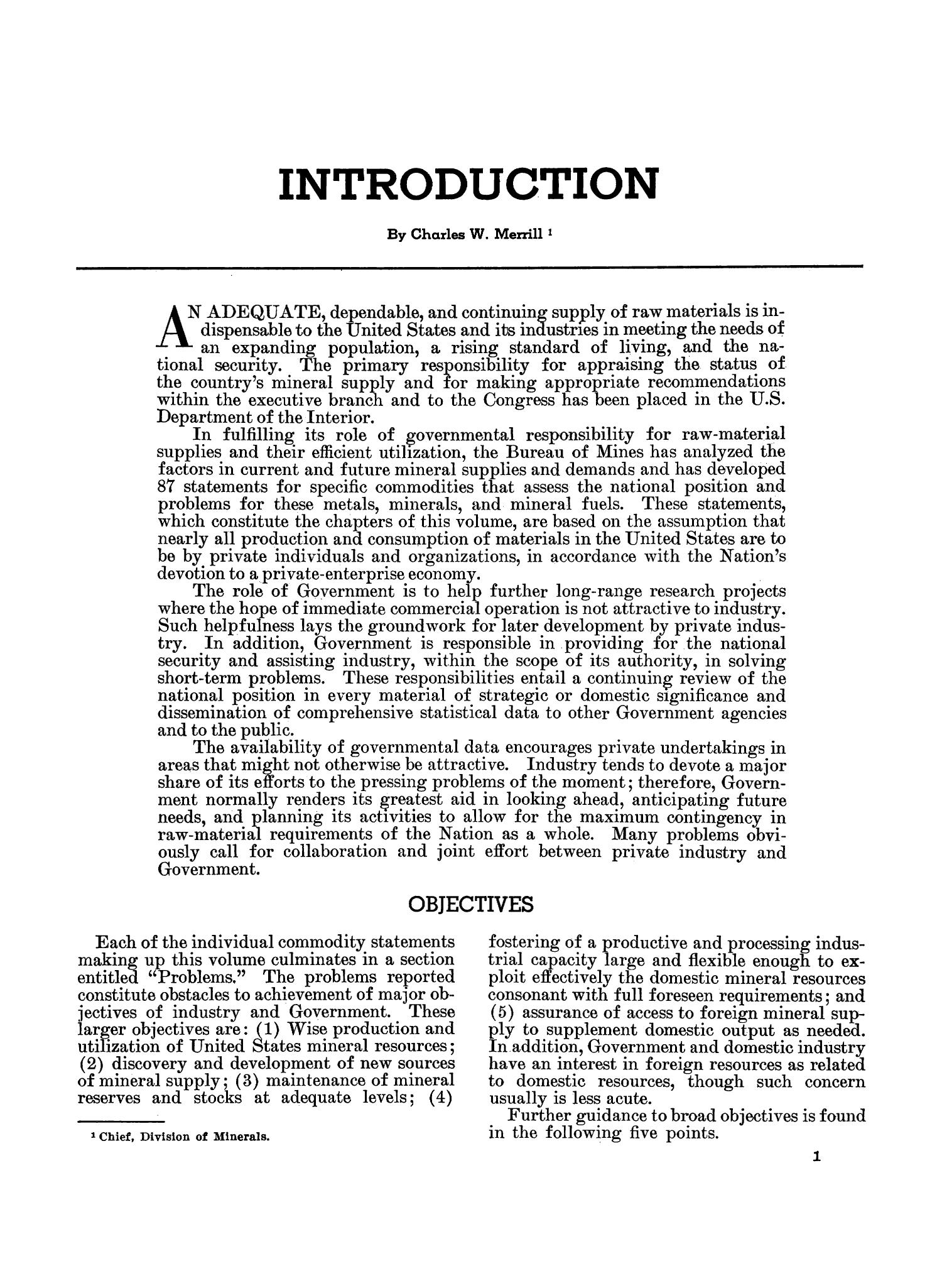 Mineral Facts and Problems: 1960 Edition                                                                                                      1