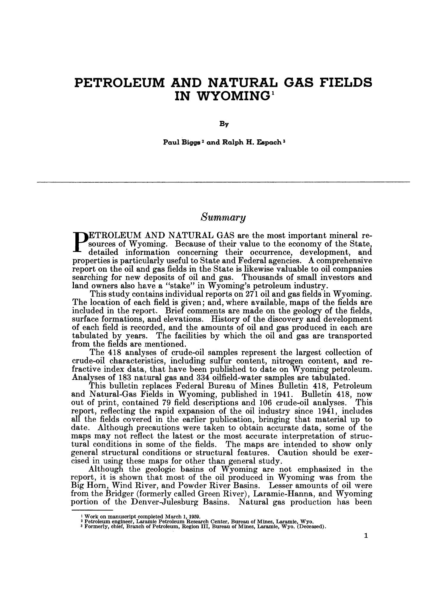 Petroleum and Natural Gas Fields in Wyoming                                                                                                      1