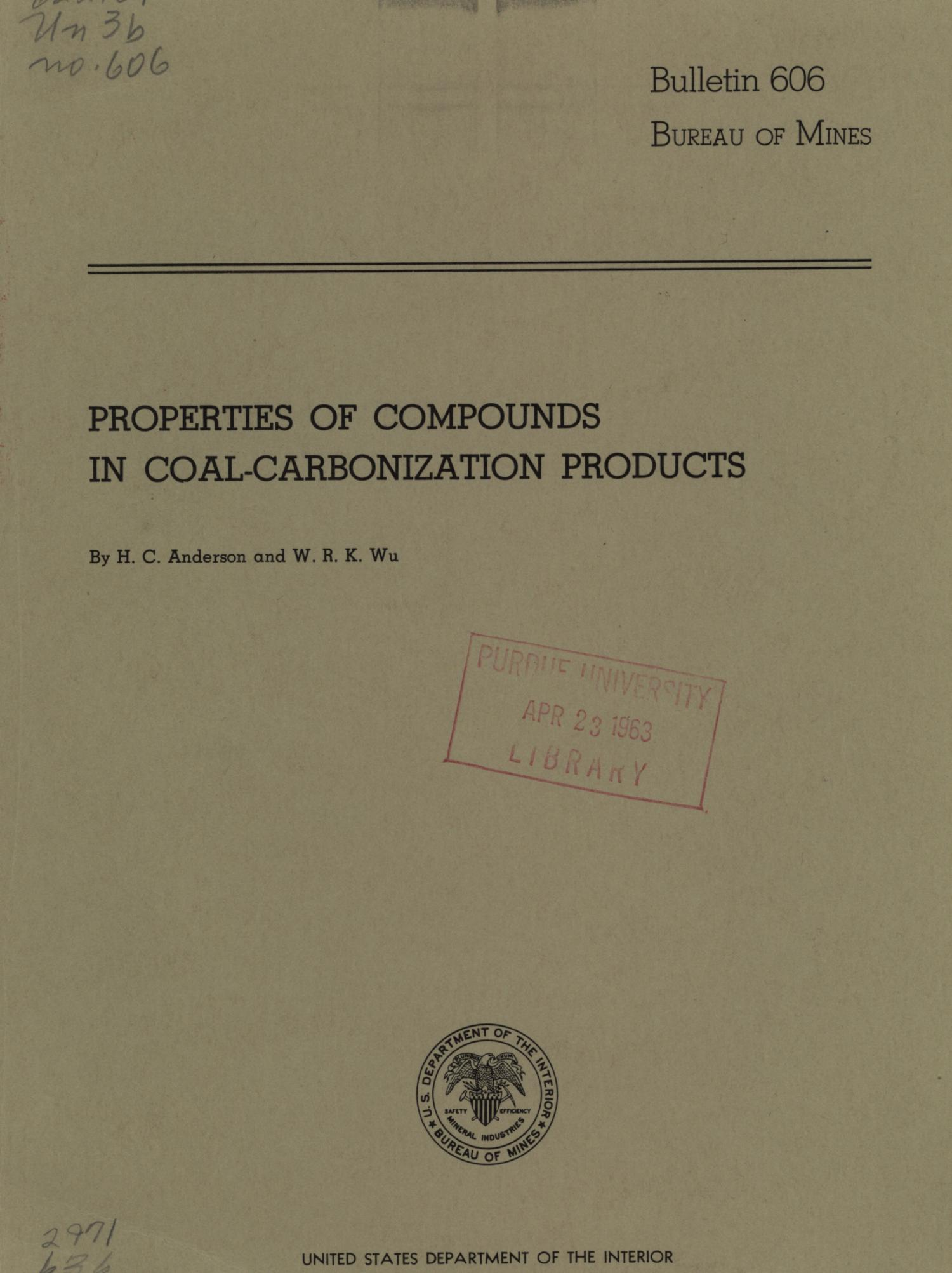 Properties of Compounds in Coal-Carbonization Products                                                                                                      Front Cover