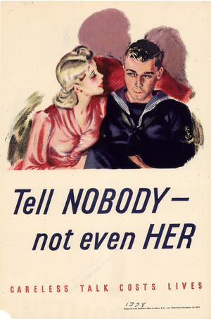 Primary view of object titled 'Tell nobody-- not even her : careless talk costs lives.'.