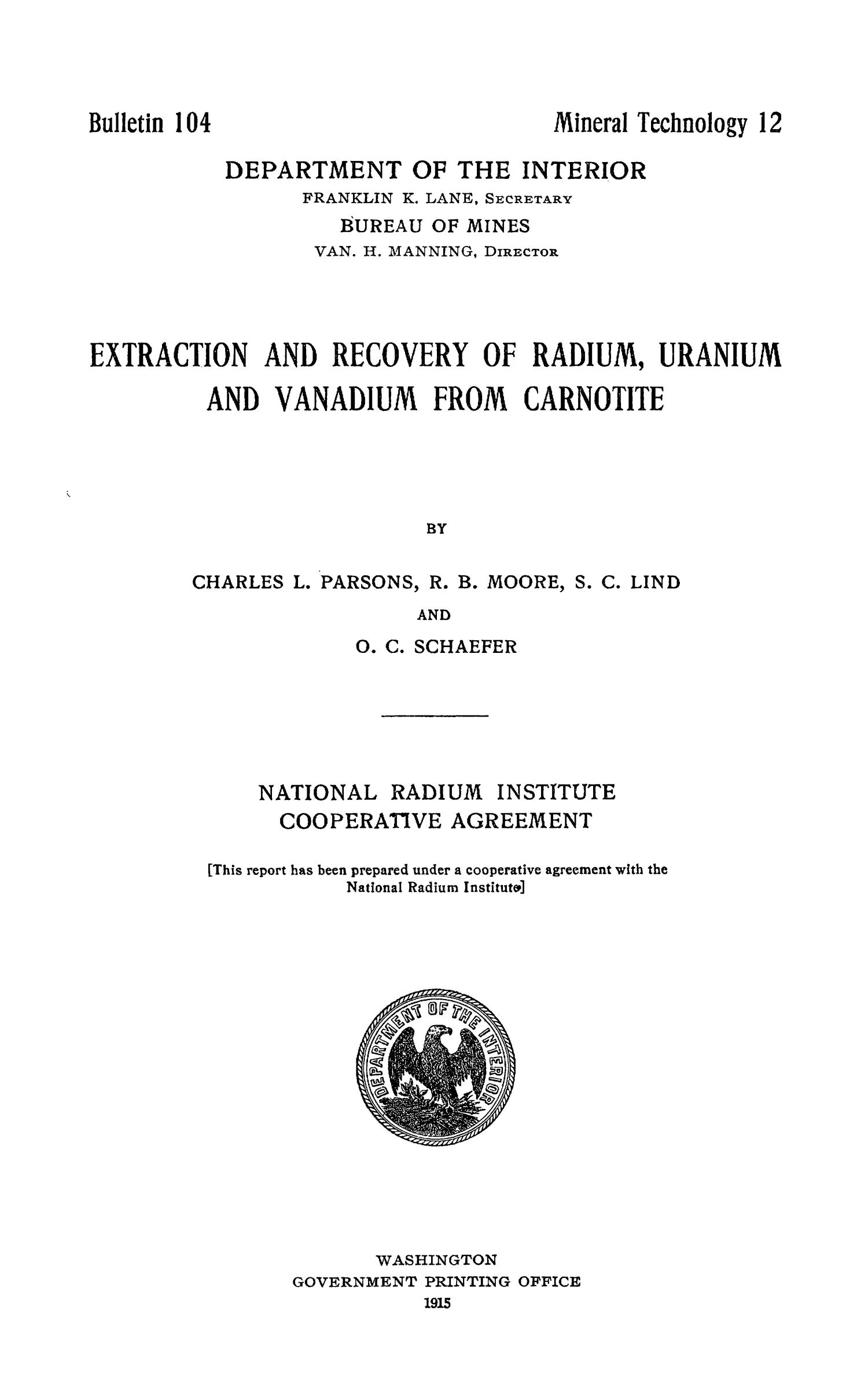 Extraction and recovery of radium uranium and vanadium from extraction and recovery of radium uranium and vanadium from carnotite digital library gamestrikefo Image collections