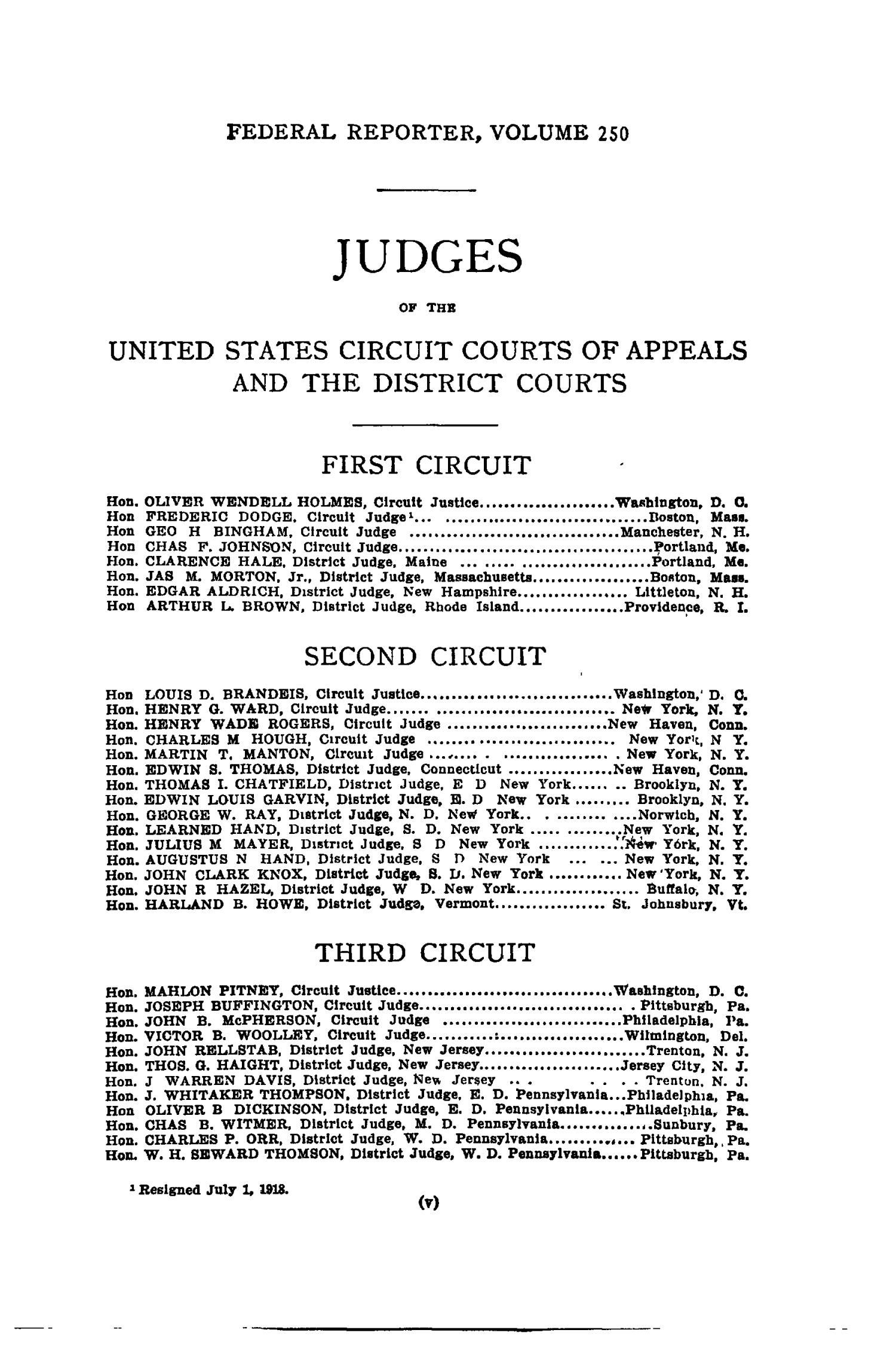 The Federal Reporter with Key-Number Annotations, Volume 250: Cases Argued and Determined in the Circuit Courts of Appeals and District Courts of the United States, August-October, 1918.                                                                                                      V