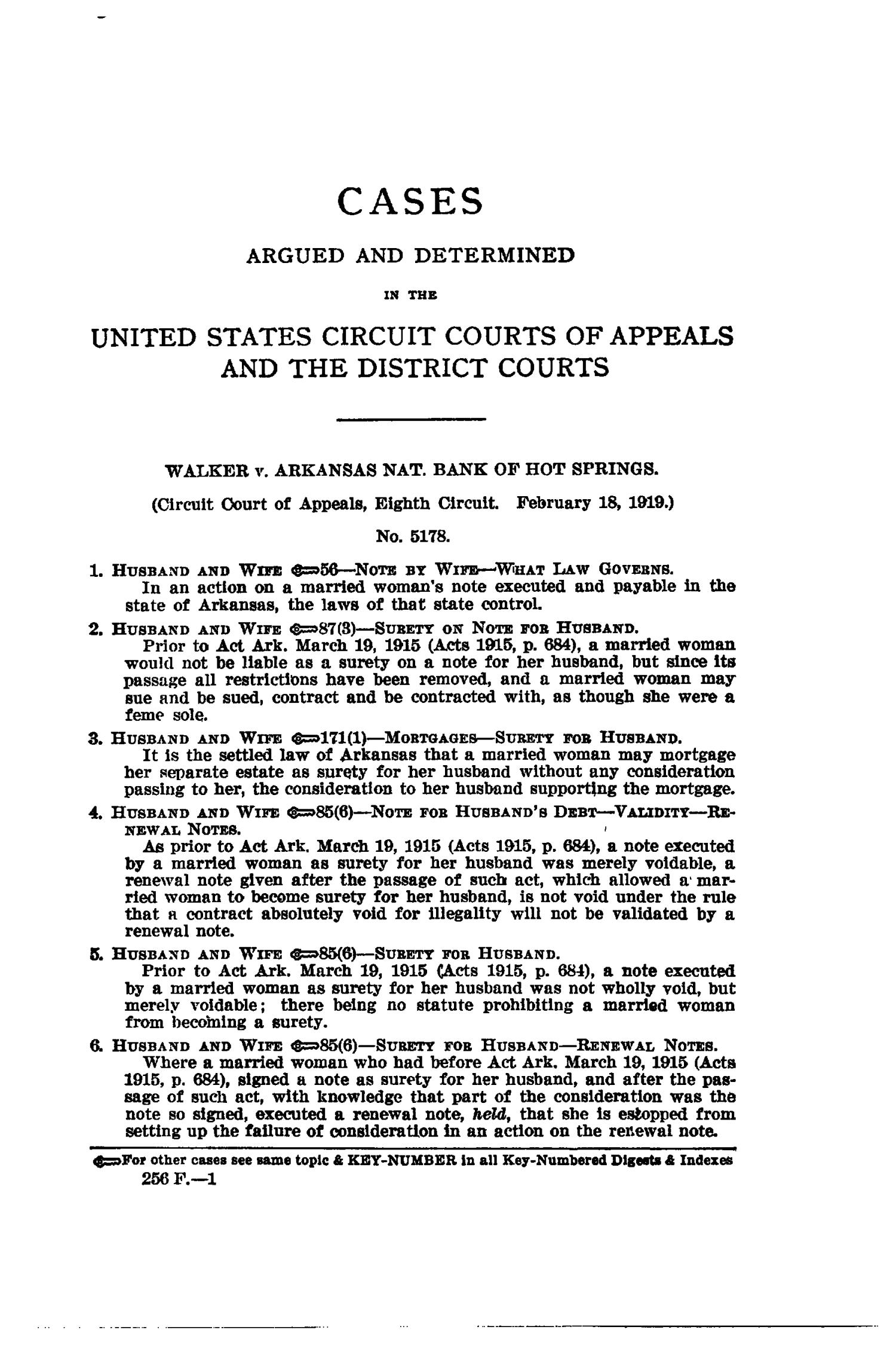 The Federal Reporter with Key-Number Annotations, Volume 256: Cases Argued and Determined in the Circuit Courts of Appeals and District Courts of the United States, May-July, 1919.                                                                                                      1