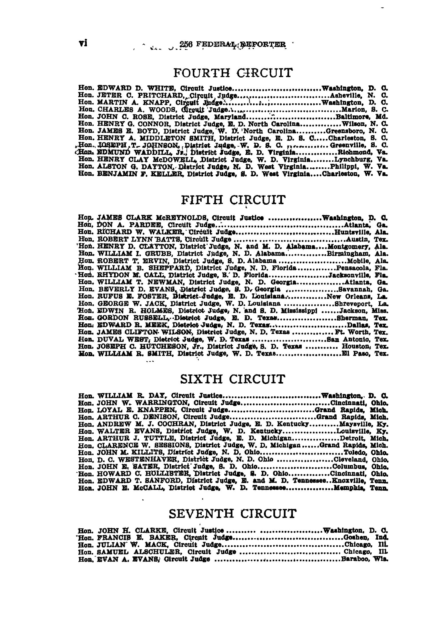 The Federal Reporter with Key-Number Annotations, Volume 256: Cases Argued and Determined in the Circuit Courts of Appeals and District Courts of the United States, May-July, 1919.                                                                                                      VI