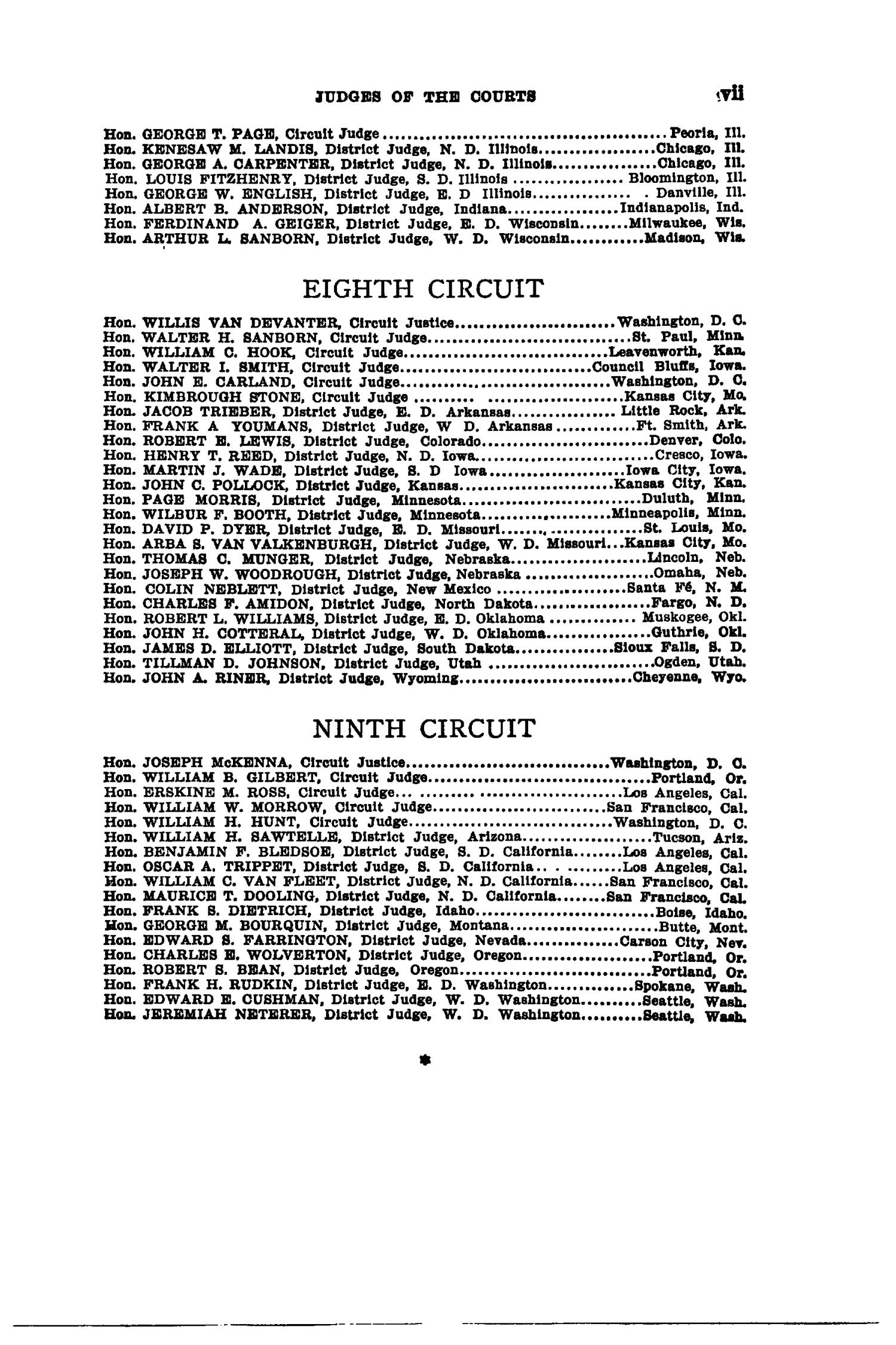 The Federal Reporter with Key-Number Annotations, Volume 256: Cases Argued and Determined in the Circuit Courts of Appeals and District Courts of the United States, May-July, 1919.                                                                                                      VII