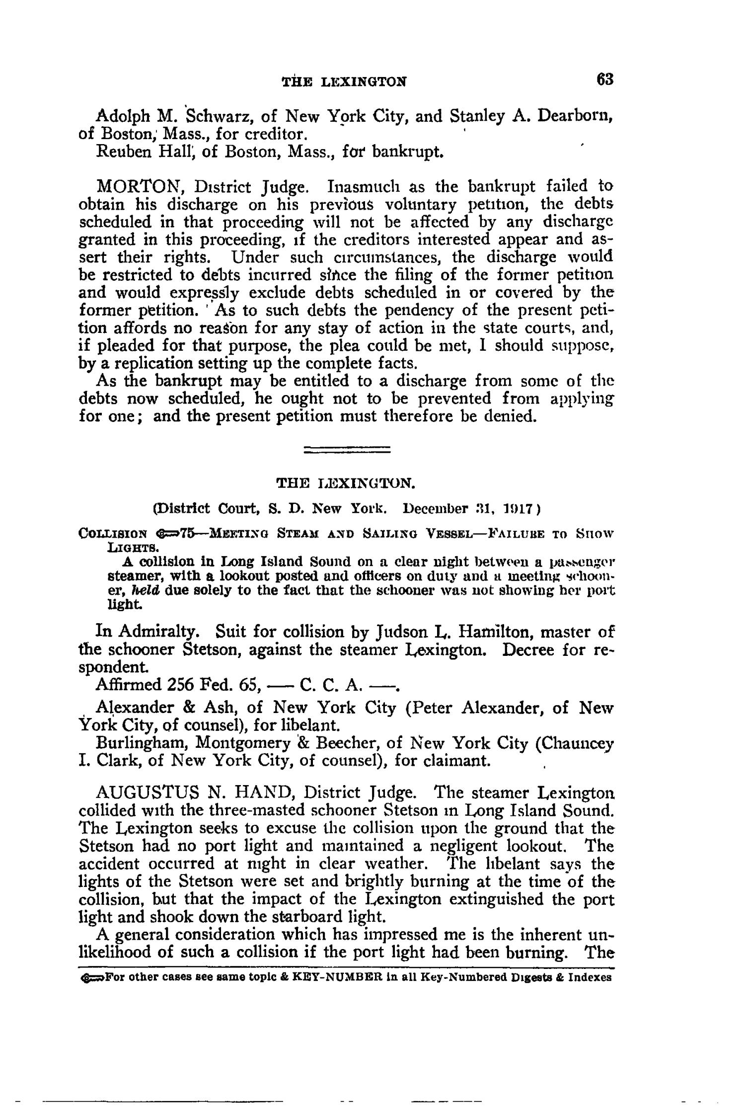 The Federal Reporter with Key-Number Annotations, Volume 256: Cases Argued and Determined in the Circuit Courts of Appeals and District Courts of the United States, May-July, 1919.                                                                                                      63