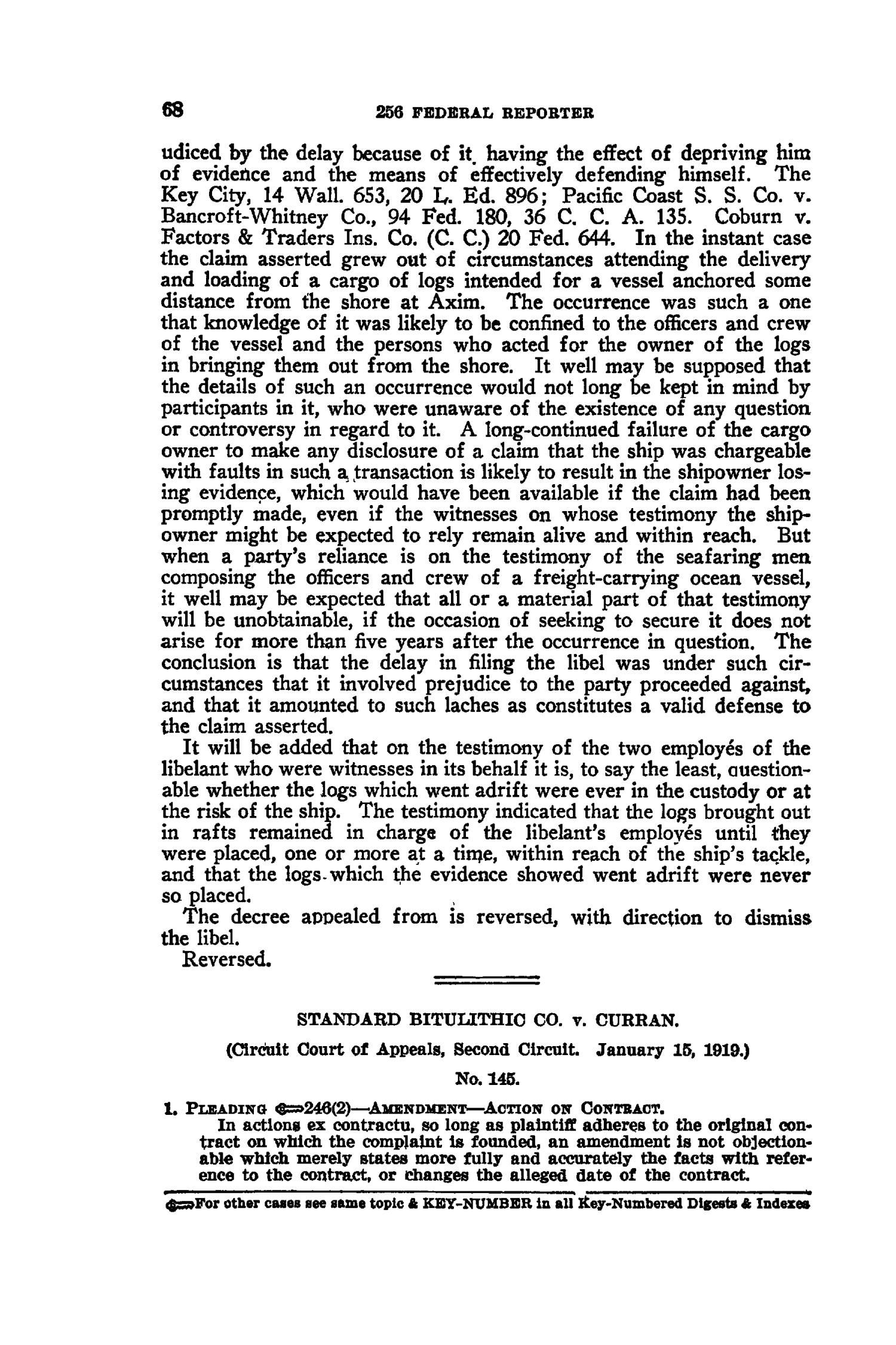 The Federal Reporter with Key-Number Annotations, Volume 256: Cases Argued and Determined in the Circuit Courts of Appeals and District Courts of the United States, May-July, 1919.                                                                                                      68