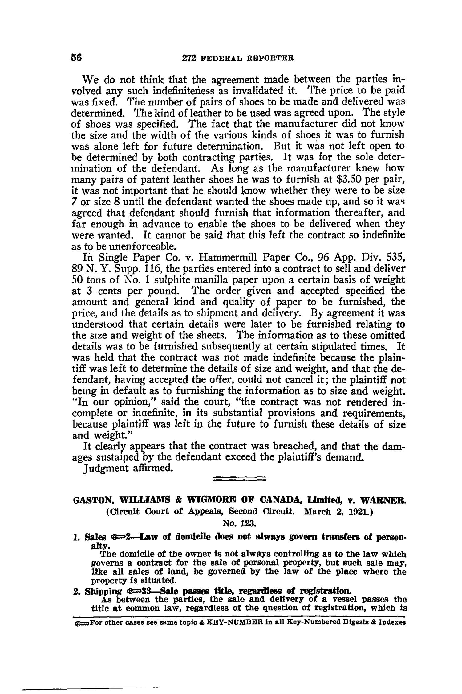 The Federal Reporter with Key-Number Annotations, Volume 272: Cases Argued and Determined in the Circuit Courts of Appeals and District Courts of the United States and the Court of Appeals in the District of Columbia,  June-August, 1921.                                                                                                      56