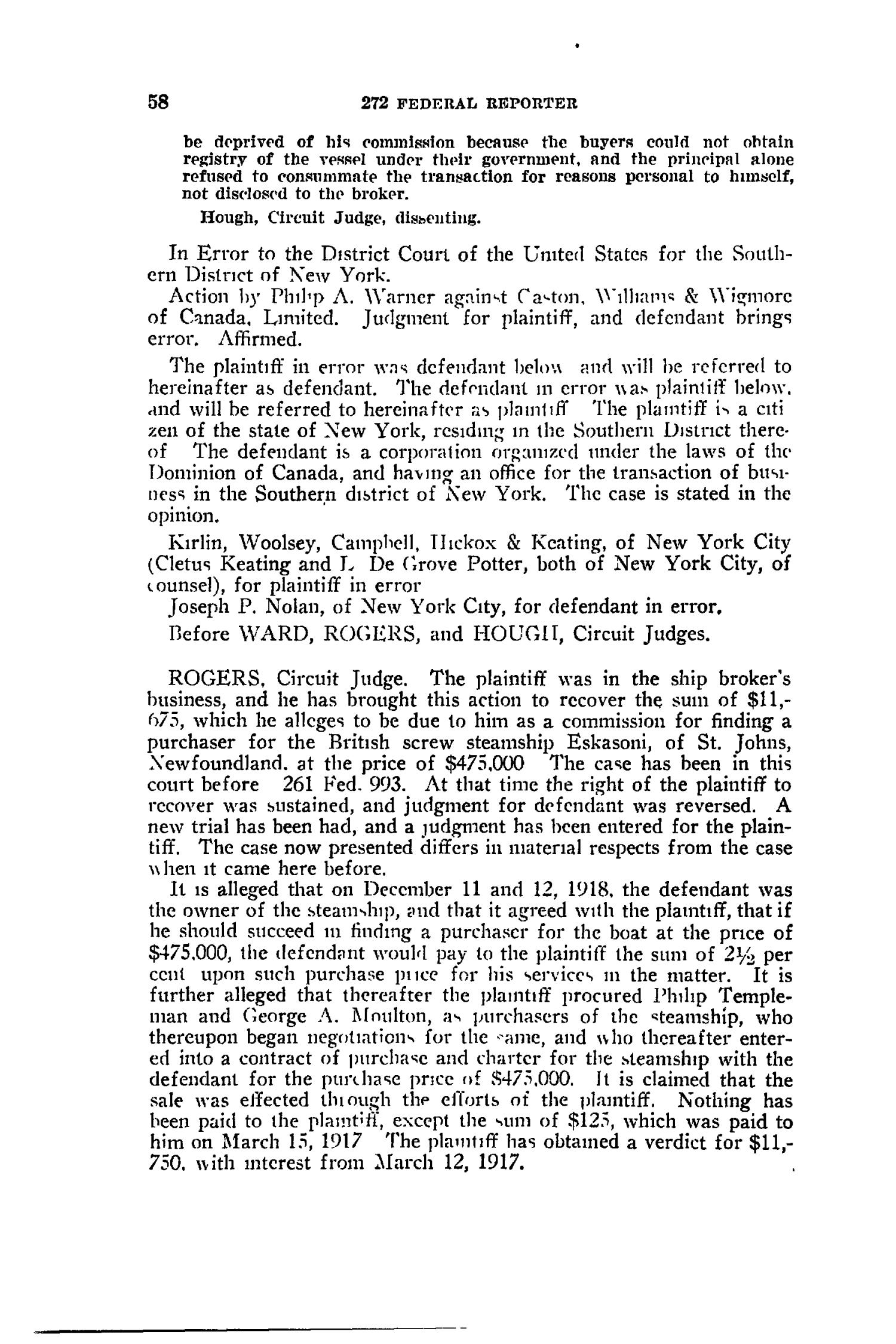 The Federal Reporter with Key-Number Annotations, Volume 272: Cases Argued and Determined in the Circuit Courts of Appeals and District Courts of the United States and the Court of Appeals in the District of Columbia,  June-August, 1921.                                                                                                      58