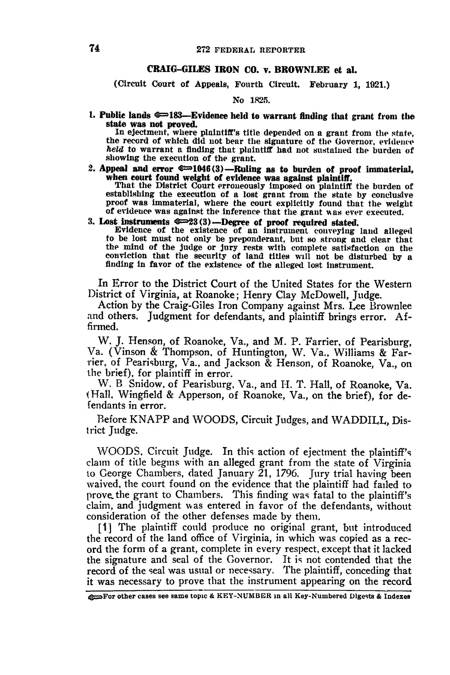 The Federal Reporter with Key-Number Annotations, Volume 272: Cases Argued and Determined in the Circuit Courts of Appeals and District Courts of the United States and the Court of Appeals in the District of Columbia,  June-August, 1921.                                                                                                      74