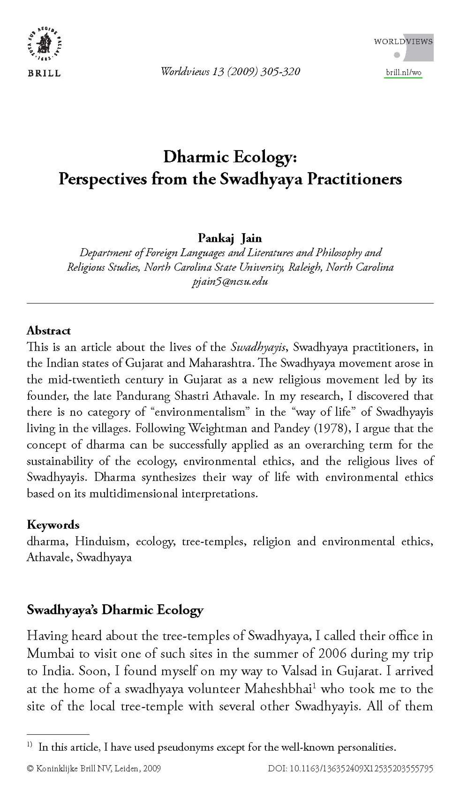 Dharmic Ecology: Perspectives from the Swadhyaya Practitioners                                                                                                      305