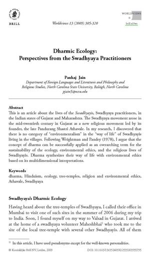 Primary view of object titled 'Dharmic Ecology: Perspectives from the Swadhyaya Practitioners'.