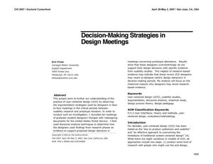 Primary view of object titled 'Decision-Making Strategies in Design Meetings'.