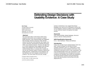 Primary view of object titled 'Defending Design Decisions With Usability Evidence: A Case Study'.