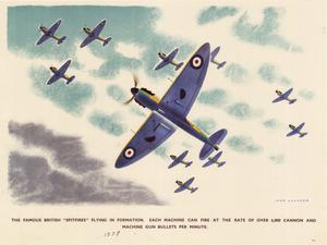 "The famous British ""Spitfires"" flying in formation. Each machine can fire at the rate of over 6,000 cannon and machine gun bullets per minute."
