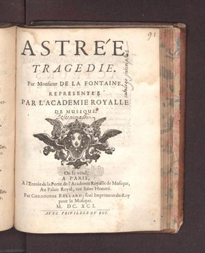 Primary view of object titled 'Astrée'.