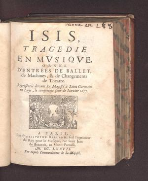 Primary view of object titled 'Isis, tragedie en musique'.