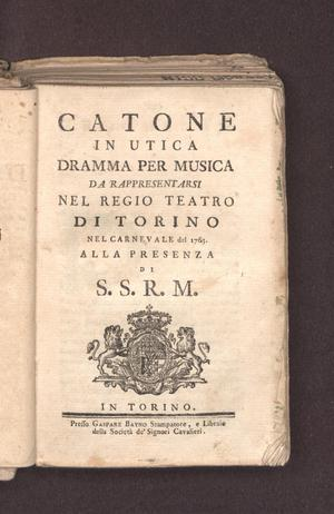 Primary view of object titled 'Catone in Utica'.