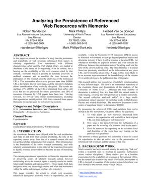 Analyzing the Persistence of Referenced Web Resources with Memento